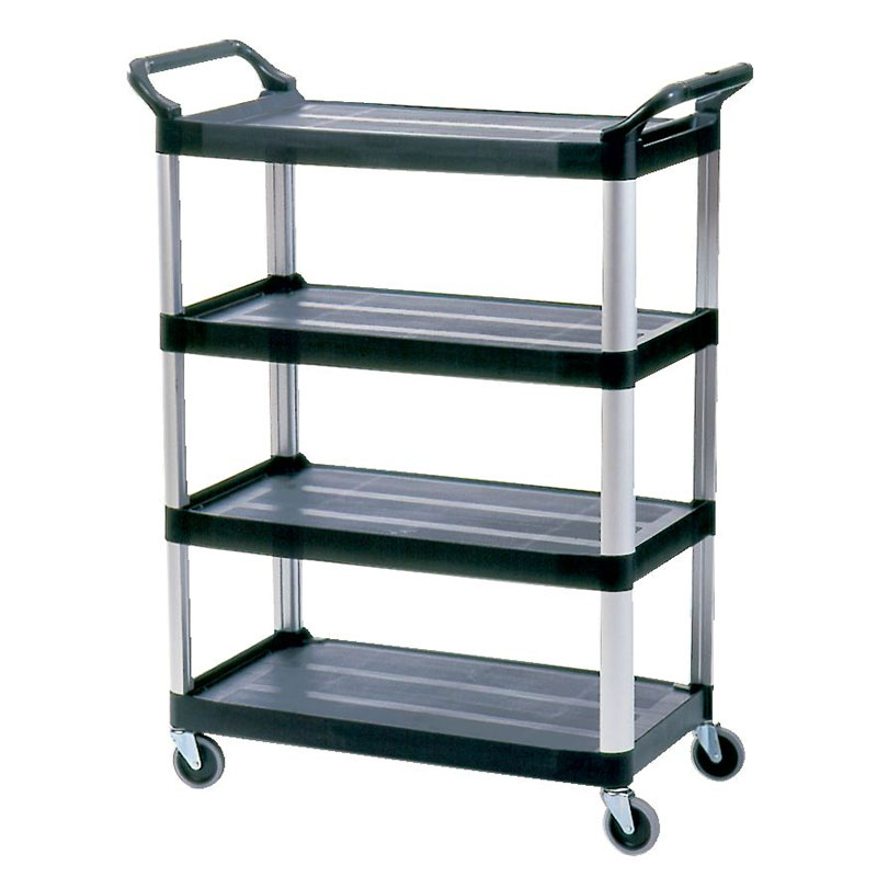 Rubbermaid FG409600BLA 4-Shelf Xtra Utility Cart - 300-lb Capacity, Open Sided, Black