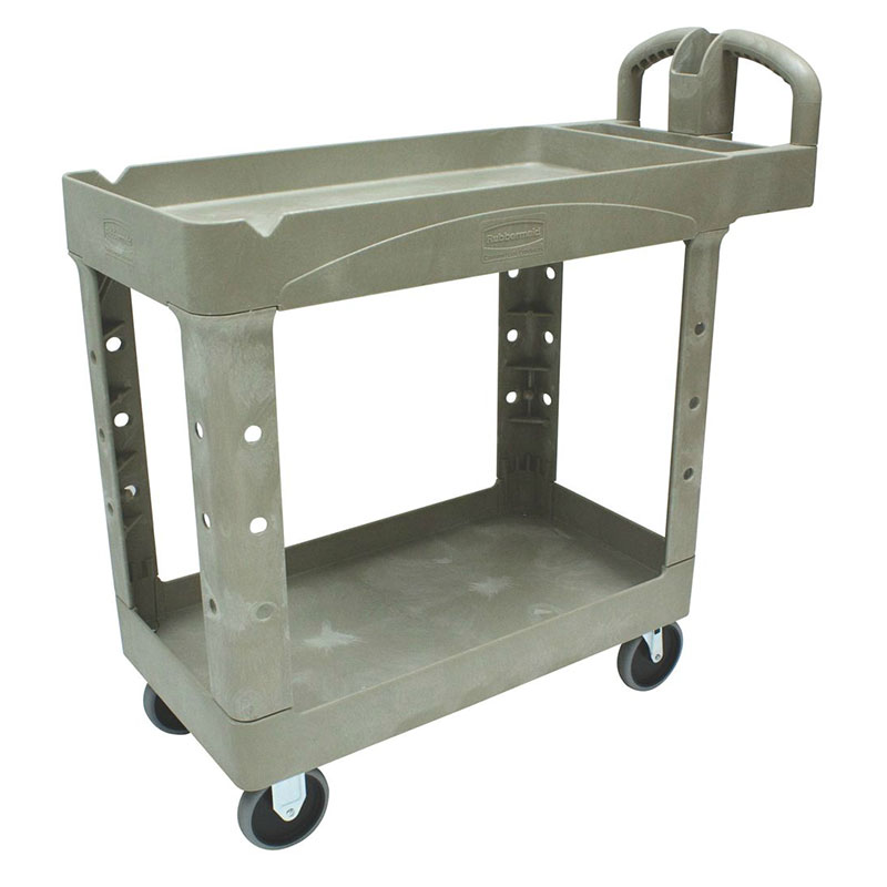 "Rubbermaid FG450088BEIG 2-Shelf Utility Cart - 500-lb Capacity, Open Base, 5"" Castors, Beige"