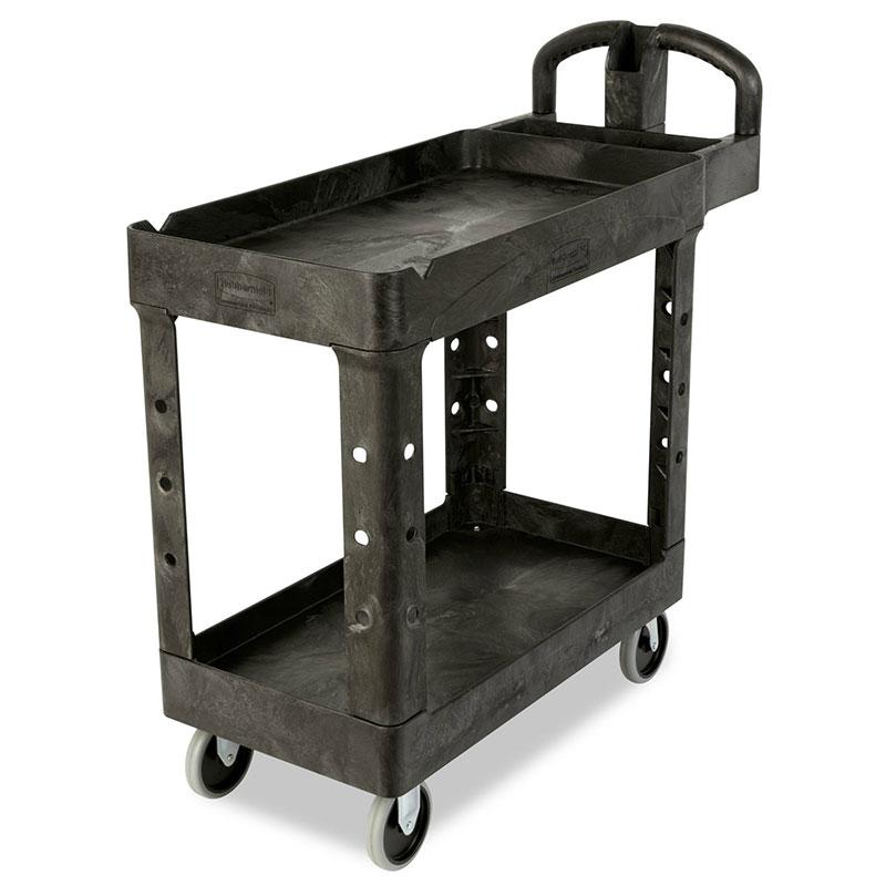 Rubbermaid FG450500BLA 2-Shelf Utility Cart - 400-lb Capacity, Open Base, Black