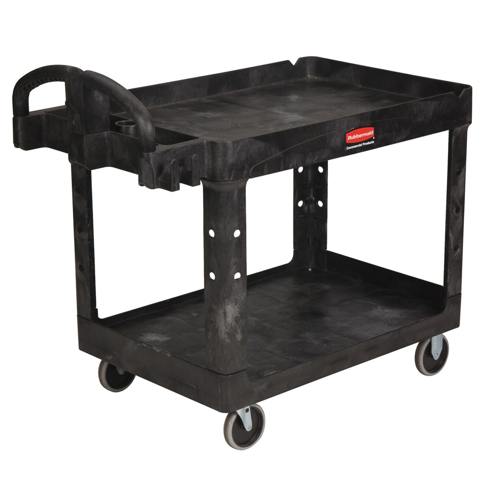 Rubbermaid FG452088BLA 2-Shelf Utility Cart - 500-lb Capacity, Open Base, Black
