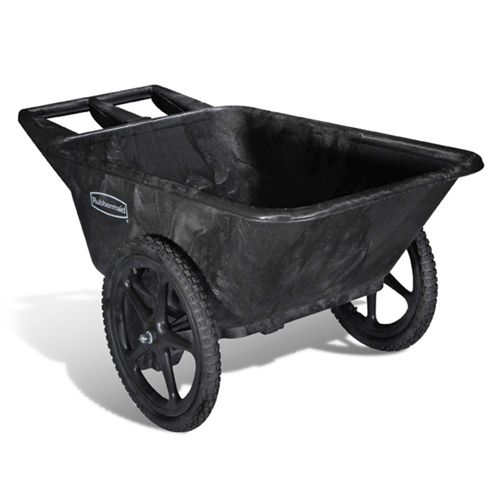 Rubbermaid FG564200BLA Big Wheel Cart - 7.5 cu ft Capacity, Black