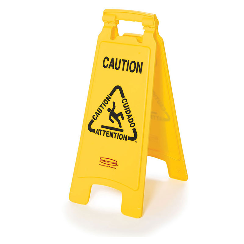 "Rubbermaid FG611400YEL 4-Sided Floor Sign - ""Caution"" Multi-Lingual, Yellow"