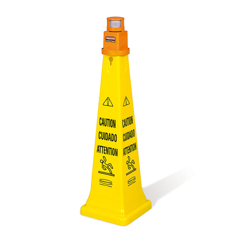 "Rubbermaid FG628700YEL 36"" Cone Barricade System - ""Caution"" Multi-Lingual, Yellow"