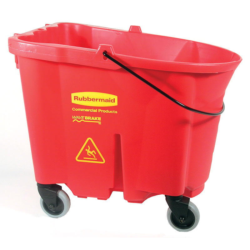 Rubbermaid FG757088RED WaveBrake Bucket w/Caster Kit 35 qt Restaurant Supply