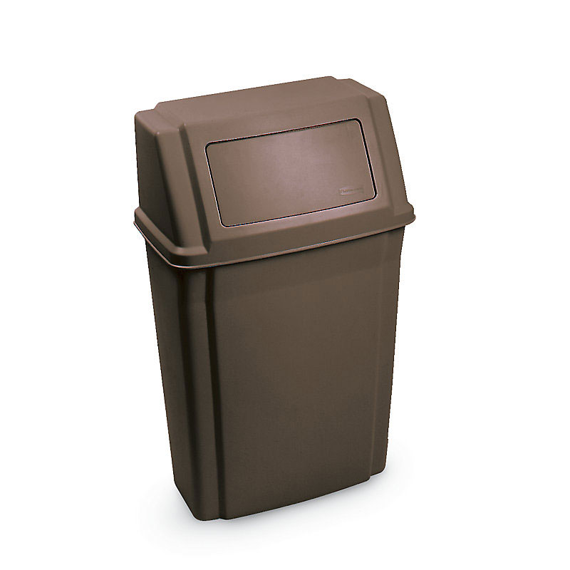 Rubbermaid FG782200BRN 15-gal Slim Jim Container - Wall Mount, Brown