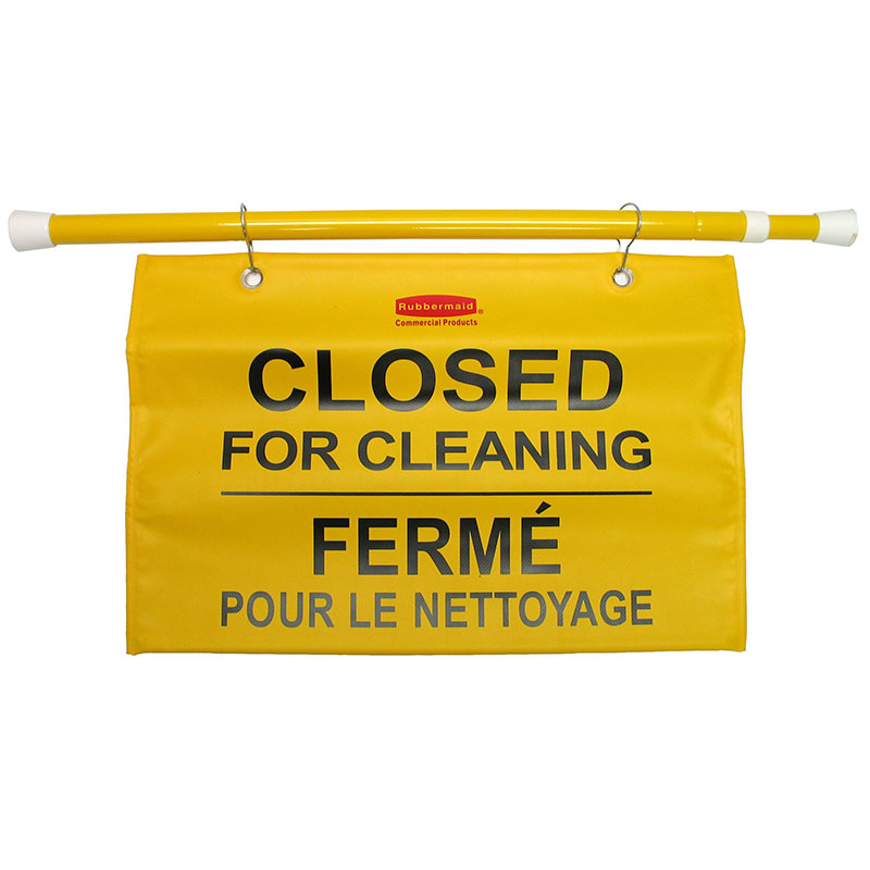 """Rubbermaid FG9S1600YEL Site Safety Hanging Sign - Multi-Lingual """"Closed for Cleaning"""
