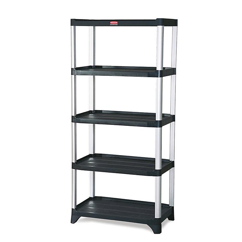 "Rubbermaid FG9T3900BLA 71-3/8"" Xtra Shelving Unit - (5) Polymer Shelves, 800-lb Capacity, Black"