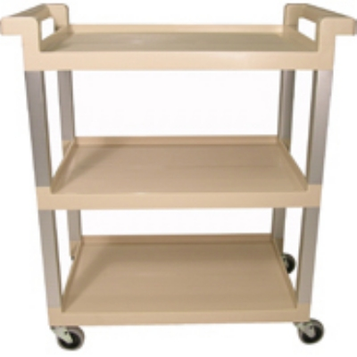 "Rubbermaid FG9T6571 BEIG 3-Shelf Utility Cart - 100-lb Capacity, Open Base, 3"" Swivel Castors, Beige"