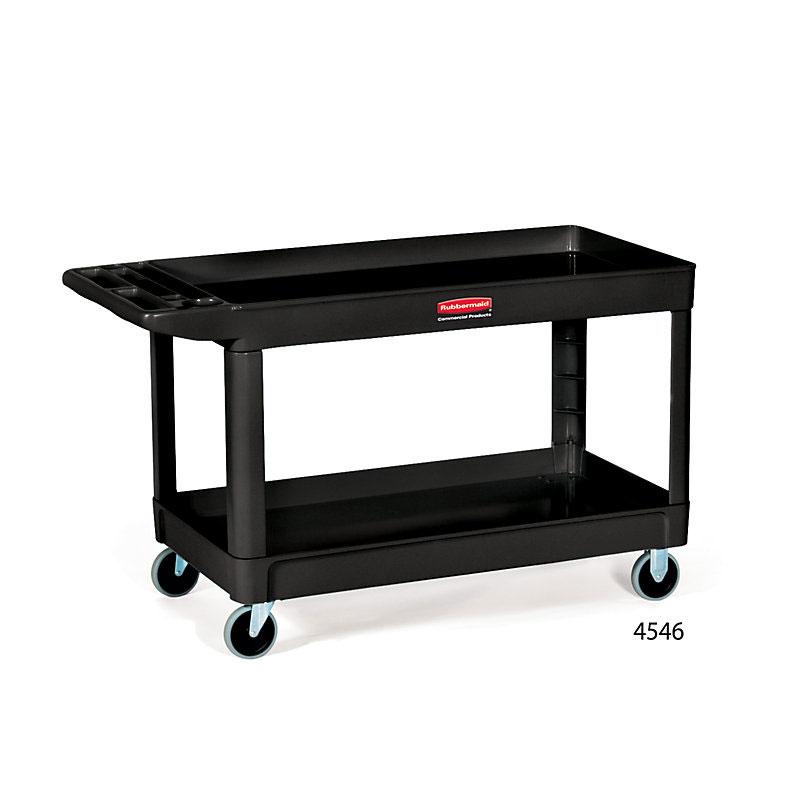 Rubbermaid FG9T6700BLA 2-Shelf Utility Cart - 300-lb Capacity, Open Base, Black