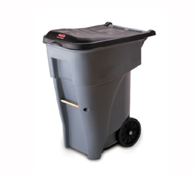 """Rubbermaid FG9W2100GRAY 65-gal BRUTE Rollout Container - 32-1/3x25-1/3x41-4/5"""" Gray"""