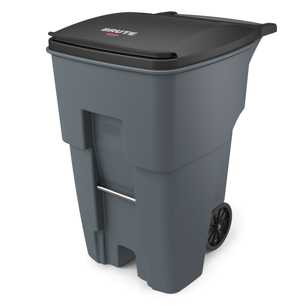 """Rubbermaid FG9W2200GRAY 95-gal BRUTE Rollout Container - 35-2/5x27-1/3x45-3/5"""" Gray"""