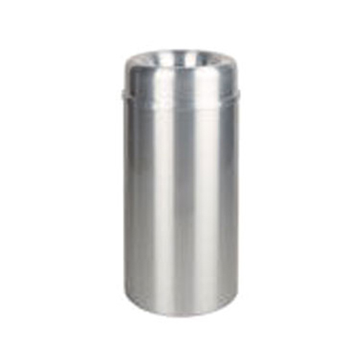 Rubbermaid FGAOT30SAPL 30-gal Crowne Waste Receptacle - Rigid Plastic Liner, Satin Aluminum