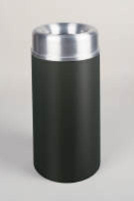 Rubbermaid FGAOT15SABKPL 15-gal Crowne Waste Receptacle - Rigid Plastic Liner, Textured Black/Aluminum