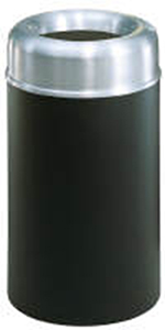 Rubbermaid FGAOT30SABKPL 30-gal Crowne Waste Receptacle - Open Top, Black/Aluminum