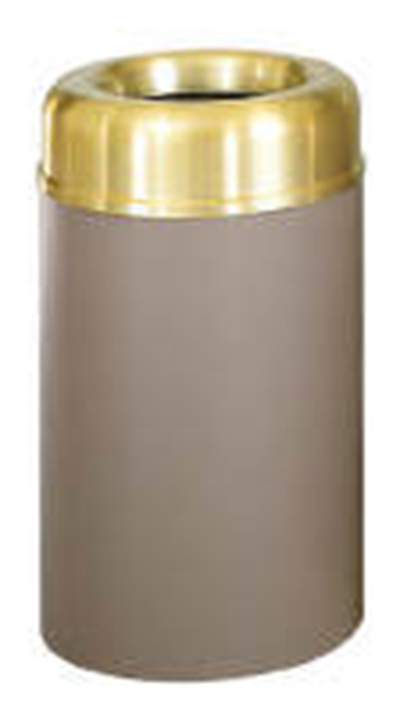 Rubbermaid FGAOT30SBBRPL 30-gal Crowne Waste Receptacle - Open Top, Brown/Brass