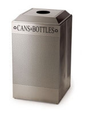 Rubbermaid FGDCR24C TBK 29-gal Square Recycling Container - Cans/Bottles, Rigid Liner, Textured Black