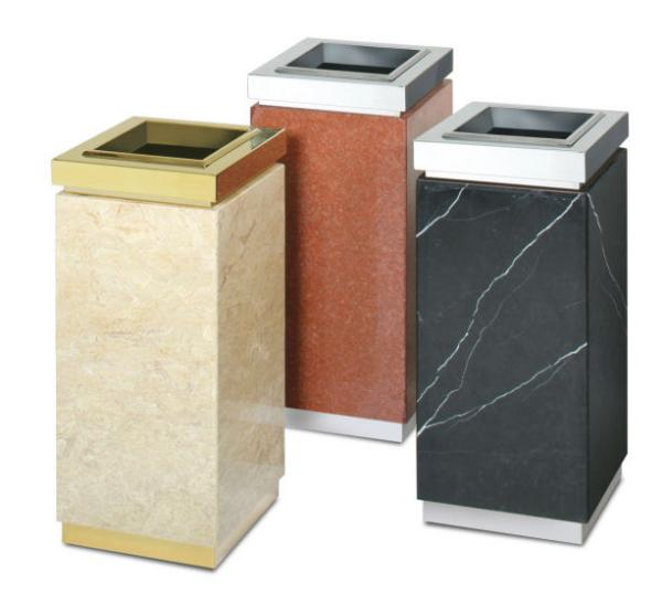 Rubbermaid FGDM12SUTGTM 5-gal Ash/Trash Receptacle - Galvanized Liner, Golden Travertine/Brass Stainless