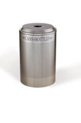 Rubbermaid FGDRR24C DP 26-gal Silhouette Round Recycling Container - Cans/Bottles, Desert Pearl