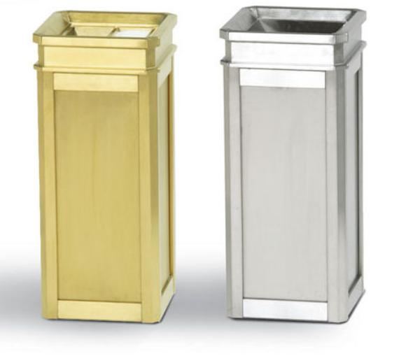 Rubbermaid FGDS12SUTSBS 5-gal Ash/Trash Receptacle - Galvanized Liner, Satin Brass Stainless