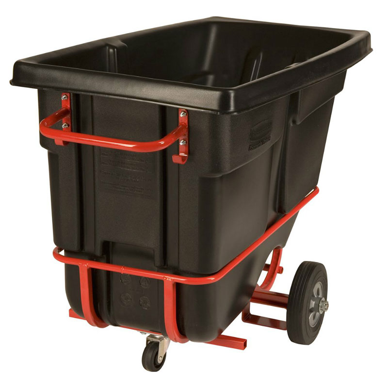 Rubbermaid FG130542BLA Forkliftable Standard Duty Mobile Tilt Truck .5 Cubic Yard Capacity Black Restaurant Supply