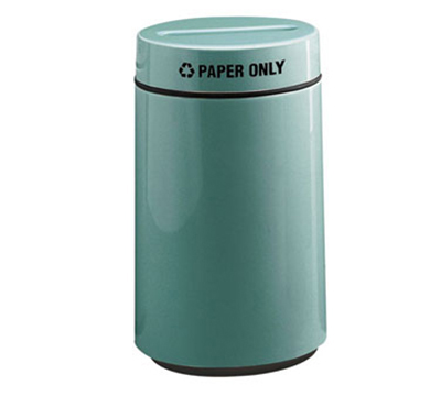 Rubbermaid FG1630PPLHGN 15-gal Paper Recycling Receptacle - Fiberglass, Hunter Green