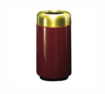 Rubbermaid FG1630TSBPLRD 15-gal Waste Receptacle - Open Top, Brass/Fiberglass, Red