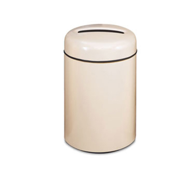 Rubbermaid FG1829PPLAL 20-gal Paper Recycling Receptacle - Round, Fiberglass, Almond