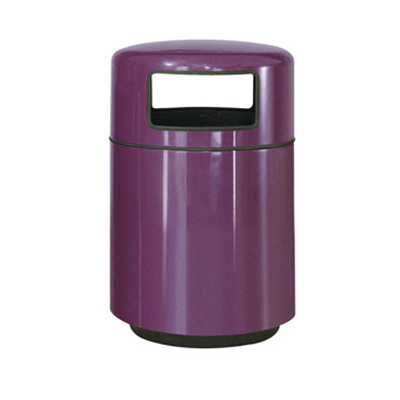 Rubbermaid FGFG2439PLBYW 36-gal Waste Receptacle - Covered Top, Fiberglass, Bur