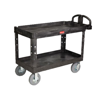 "Rubbermaid FG454600 BLA Heavy Duty Utility Cart - 2-Shelf, 750-lb Capacity, 5"" Castors, Black"