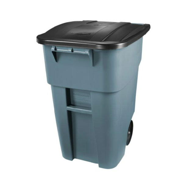 Rubbermaid FG9W2700GRAY 50-gal BRUTE Recycling Rollout Container with Lid - Gray