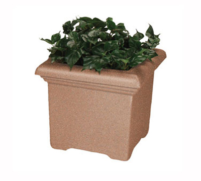 Rubbermaid FGPT3027BK Tuscany Planter 30 Sq x 27 in H Square Fiberglass In/Outdoor Black Restaurant Supply