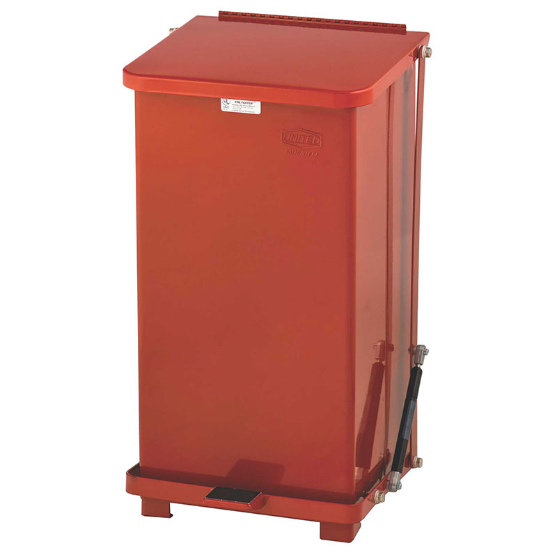 Rubbermaid FGQST12ERBRD 12-gal Silent Defender Step Waste Can - Red
