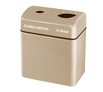 Rubbermaid FGFGR2416TPPLTN 32-gal Recycling Center - 2-Section, Fiberglass, Tan