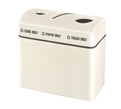 Rubbermaid FGR3616TPCPLIV 3-Section Recycling Center (3) 16 Gal Restaurant Supply