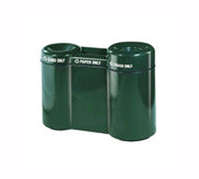 Rubbermaid FGFGR5220PLGE 49-gal Recycling Center - 3-Section, Fiberglass, Greige