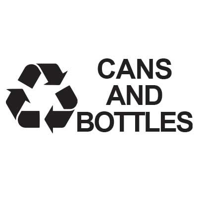 "Rubbermaid FGRDW10 Cans & Bottles"" Recycle Decal - White Let"