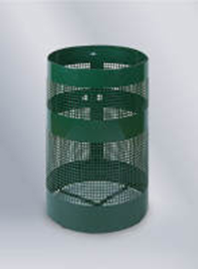 Rubbermaid FGH55EEGN 63-gal Howard Waste Receptacle - Free Standing, Perforated Steel, Empire Green