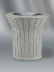 21-gal Waste Receptacle - Open Top, Concrete, Gray/Gray