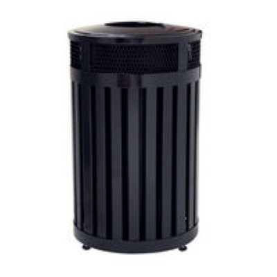 Rubbermaid FGMH24PLBK 24-gal Avenue Waste Receptacle - Open Top, Steel Slat, Black