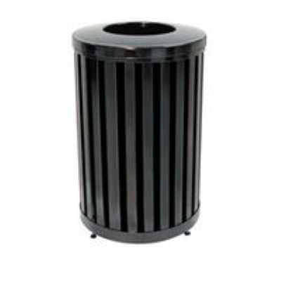 Rubbermaid FGMH32PLBK 32-gal Avenue Waste Receptacle - Open Top, Steel Slat, Black