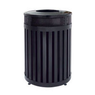 Rubbermaid FGMH46PLBK 46-gal Avenue Waste Receptacle - Open Top, Steel Slat, Black