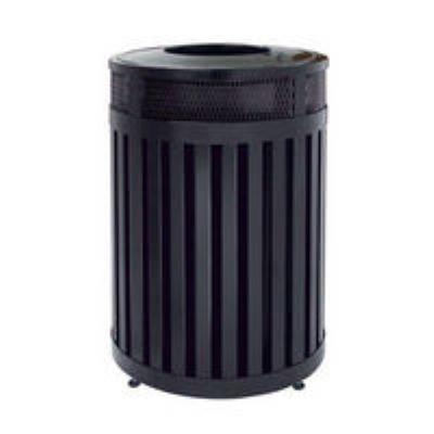 Rubbermaid FGMH46PLBK 46-gal Avenue Waste Receptacle - Open Top, Steel Slat, Black