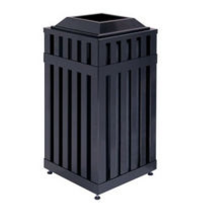 Rubbermaid FGMHSQ18PLBK 18-gal Avenue Waste Receptacle - Open Top, Steel Slat, B