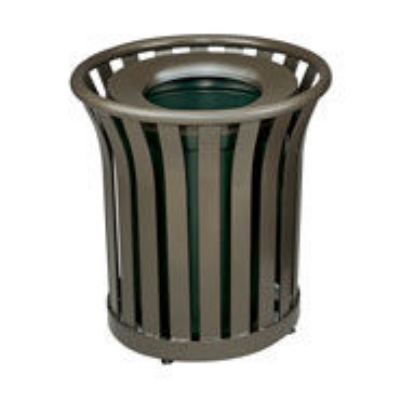 Rubbermaid FGMT32PLBK 36-gal American Trash Receptacle - Open Top, Steel Slat, Black