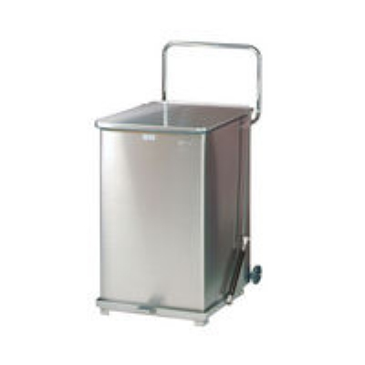 Rubbermaid FGQST40SWRB 40-gal Silent Defender Step Waste Can with Wheels - St