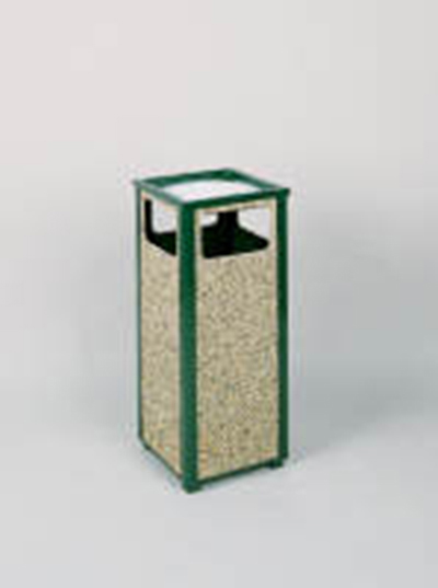 Rubbermaid FGR12SU202PL Aspen Ash/Trash Receptacle 12 Gal 14 in Empire Green w/ Desert Brown Panels Restaurant Supply
