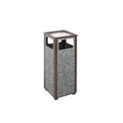 Rubbermaid FGR12SUSBKPL 12-gal Square Flat Top Ash/Trash Receptacle - Plastic Liner, Satin Black