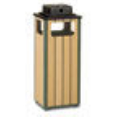 Rubbermaid FGR14WU50PLEGN 12-gal Waste Receptacle - Sand Urn Top, Rigid Plastic Liner, Cedar/Empire Green