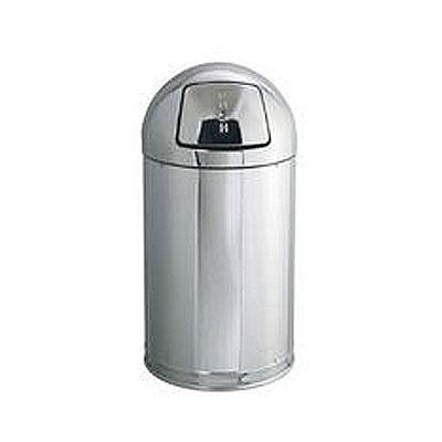 Rubbermaid FGR1530MCPL 12-gal Round Metallic Waste Receptacle - Plastic Liner, Mirro