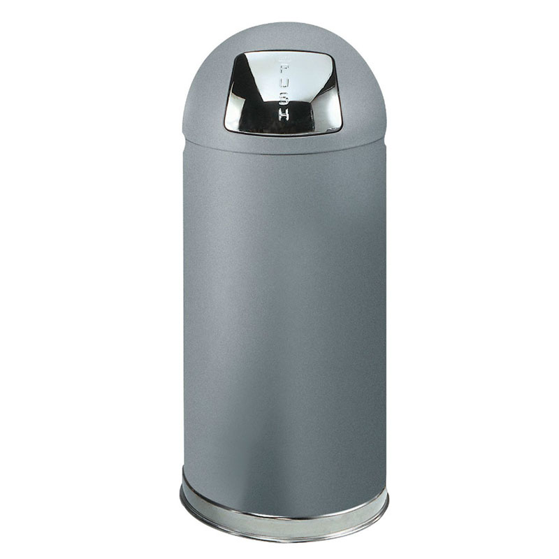 Rubbermaid FGR1536SMPL 15-gal Round Waste Receptacle - Plastic Liner, Silver Metallic